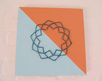 Coral and Blue Geometric String Art - Free Shipping
