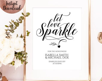 Let Love Sparkle, Script Font Wedding Sign, Printable Wedding Sign, Wedding Party Sign, Wedding Decoration, Instant Download, SKU#SIGN023