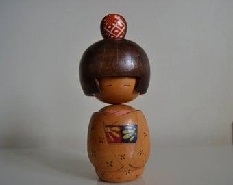 Original and adorable Vintage Kokeshi Doll. Japanese Wooden Doll