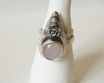 Rose quartz hammered sterling silver ring, pink, δαχτυλίδι, κοσμώ, boho