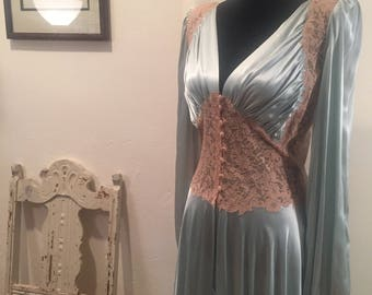 Silk and Lace 1940s Night Dressing Gown Robe