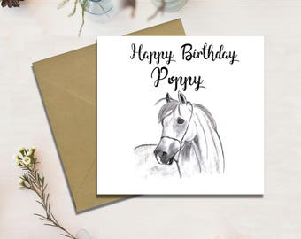 Personalised Birthday Card, Horse Card, Handmade, Free Shipping