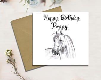 Personalised Birthday Card, Horse Card, Handmade, Free Shipping