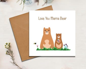 Mama Bear Card, Mother's Day, Birthday, Card For Mum, Mammy, Momma