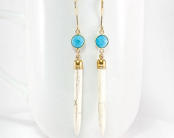 Natural grain Spikes with Turquoise Howlite Facet Earrings