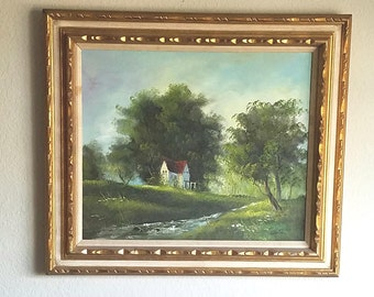 Framed Original Oil Painting of Landscape with Farmhouse