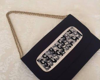 Vintage Black Handbag with Tapestry Design 1980s