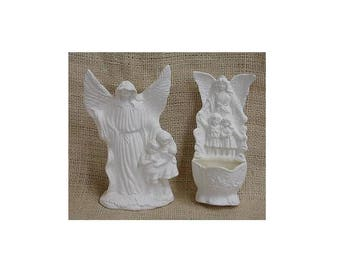 Guardian angels with children - standing figurine and a wall figurine
