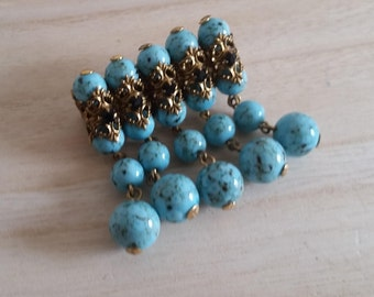 Aquamarine brooch / gold beads vintage 50s