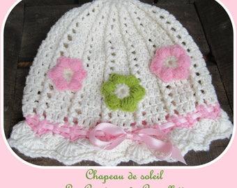 Floral Sun Hat, white, pink, cotton child 6-12 months