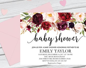 Floral Baby Shower Invitation, It's a Girl Shower Invite, Bridal Shower Card, Floral Baby Shower, Boho Girl Baby Invite, Instant Download B5