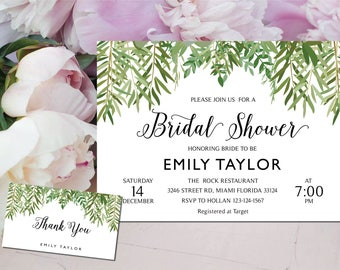 Bridal Shower Invitation, Greenery Wedding Printable , Greenery Bridal, Editable Bridal Shower Invitation, Greenery, Instant Download, ABR07
