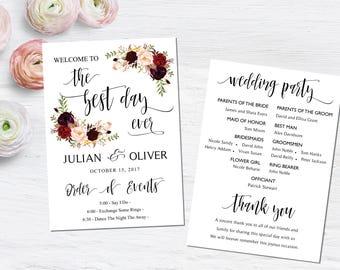 Wedding program template, Boho wedding programs, Kraft wedding program, Wedding Program Fan, Printable Wedding Program Fan, INSTANT DOWNLOAD