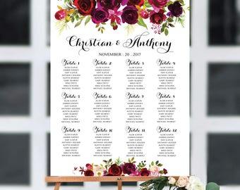 Wedding seating chart template, Poster wedding seating chart, Wedding Table seating chart, Boho wedding seating chart, Find Your Seat, SC96