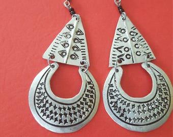 Aluminum handmade African hammered earring