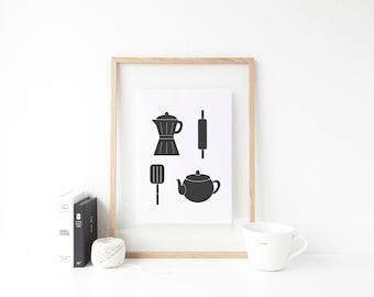 Kitchen Utensils Print. Kitchen Print. Kitchen Appliances Print. Kitchen Wall Art. Coffee Pot Print. Teacup Print