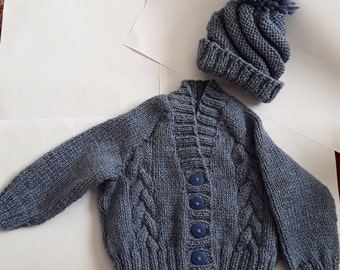 Knitted Baby Cardigan And Hat, Baby Clothes, Baby Gift, Baby Boy clothes
