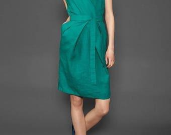 100% Linen Dress with belt - made in Europe - Blueish Green