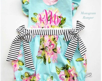 Baby romper, floral baby girl romper, girls floral sundress, Toddler bubble romper, Monogram Romper, Floral infant rompers, playsuit
