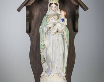 "17"" Madonna with Child Jesus Bisque Porcelain Statue in Wooden Shrine Our Lady Virgin Mary with Baby Christ Figurine Religious Statue"
