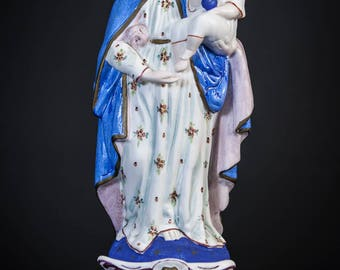 Beautiful French Antique Madonna w Child Jesus Porcelain Statue Virgin Mary 5