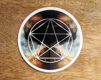 Pentagram Sacred Geometry Sticker - Vinyl Stickers, energy, crystal grid, boho, tarot, powerful, wiccan, witch,