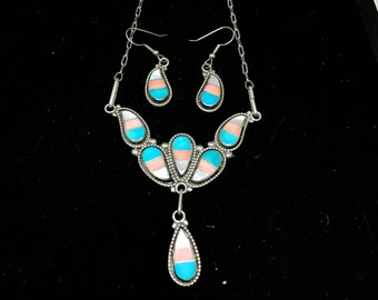 Vintage Old Pawn Sterling Silver & Zuni Inlay Necklace and Earrings Set MARKED