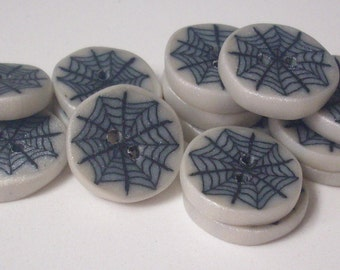 Halloween - Spider Web - button made of polymere clay button / halloween buttons