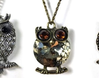 3 Vintage Owl Long Rhinestone Necklace Collection Jelly Belly