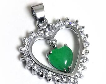 14k White Gold Plated  CZ & Serpentine Heart Stone Sparkling Heart Pendant