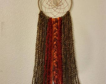Brown, Red and Orange Boho Masculine Dream Catcher, Gift for Him, Crystal Healing, Silver Wrapped Moonstone, Native Artist, Hand Crafted