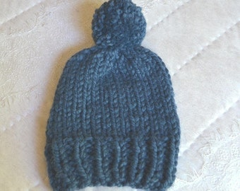 Kid's Blue Wool Knit Beanie Slouchy