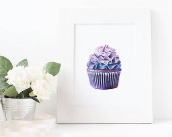 Purple Cupcake Drawing Print - Wall Art - Decoration - Food Art