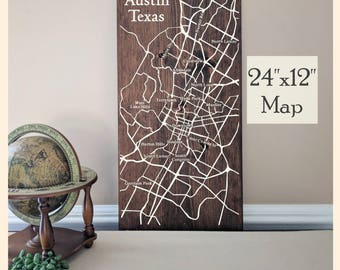 Austin Map Wall Art, Large Wooden Map, Austin Map, Austin Map Art, Wooden Street Map, Custom Painted Map, House Address Map by Novel Maps