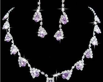 Rhinestone, Crystal, CZ necklace set, wedding bridal jewelry set costume black purple