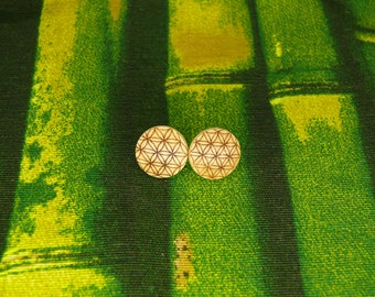 "Soul slices ""flower of life"" wooden stud earrings 13mm"