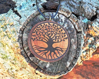 "Soul slices ""Tree of life 7"" wooden necklace vintage * Ethno * hippie * MUST have * statement * Boho *"