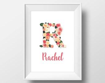 Floral Monogram Digital Print, Custom Name Nursery Printable, Personalized Name Print, Digital Floral Letter Name, Customized Name Art