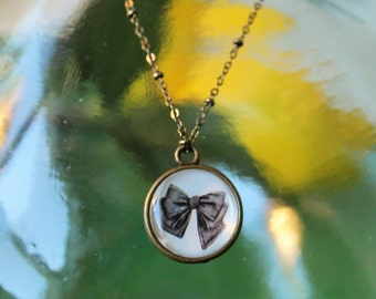 Vintage Bow Double Sided Petite Pendant Necklace