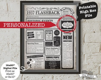 Personalized 80th Birthday Poster, Custom 80th Birthday Poster, 1937 Poster