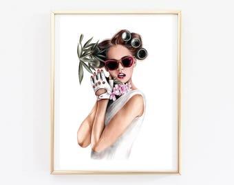 Wall art print Fashion Illustration Fashion girl art Fashion drawing Wall art Fashion sketch Custom art Pencil Drawing Fashion Print