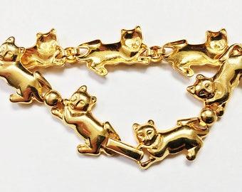 Vintage gold cat bracelet