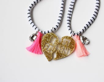 BFF Gold Glitter Heart Necklace Set