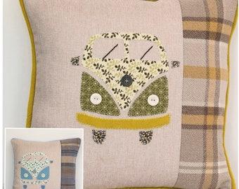 Campervan hand stitched appliqué cushion 45 x 45cm