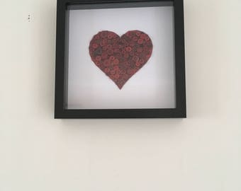 Red Button Heart - Supplied in Black Box Frame