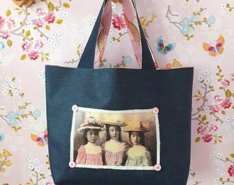 tote bag in denim, Japanese fabric, kids