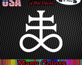 Satanic Cross Devil Lucifer Anti Christ Car Diecut Decal Vinyl Sticker ANYSIZE Satan Lucifer Alchemist Alchemy