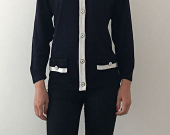 Women's Vintage Cardigan (Navy and White)