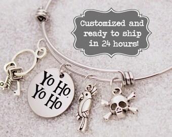 Yo Ho, Yo Ho, Pirates of Caribbean Disney World, Disneyland Parks Inspired Bracelet, Custom Name Charm Bracelet, Adjustable Bangle