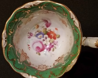 Green Handpainted Porcelain Tea cup and saucer - one of 210 teacups in lot.